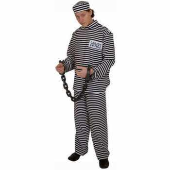 Foute gestreept gevangene party kleding volwassene