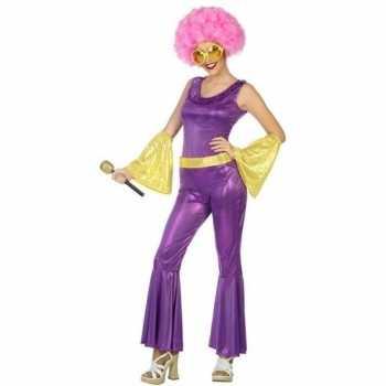 Foute goud/paars disco pak/party kleding voor dames