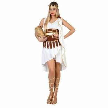 Foute griekse godin party kleding/jurk wit/goud voor dames