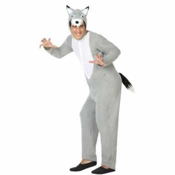 Foute grijze wolf dieren party kleding/onesie voor volwassenen