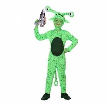 Foute groen alien party kleding inclusief space gun voor kids
