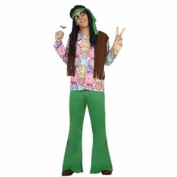 Foute groen/bruine hippie/flower power party kleding voor heren
