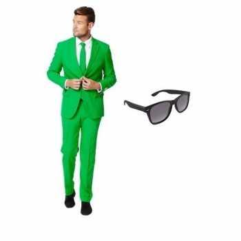 Foute groen heren party kleding maat 50 (l) met gratis zonnebril