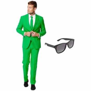 Foute groen heren party kleding maat 54 (xxl) met gratis zonnebril