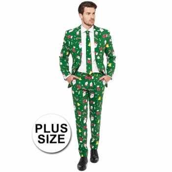 Foute groot feest party kleding kerstmis print groen