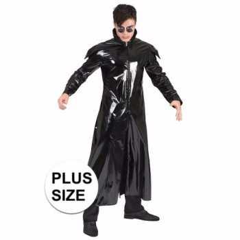 Foute grote maat 90s party kleding gothic lakleren jas voor volwassen