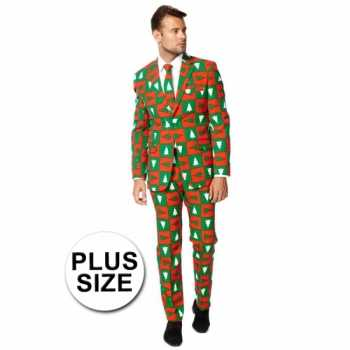 Foute grote maat feest party kleding kerstbomen print