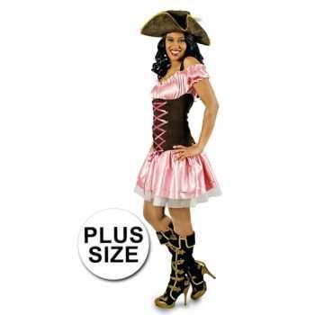 Foute grote maat party kleding roze piratenjurkje