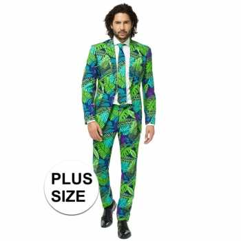 Foute grote maten heren pak/party kleding jungle print