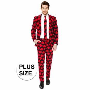 Foute grote maten heren pak/party kleding rode hartjes print