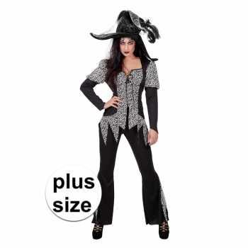 Foute halloween grote maat zwart/wit heksen party kleding voor dames