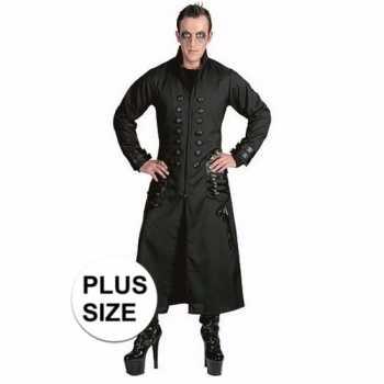 Foute halloween grote maten zwarte gothic/vampier jas party kleding v