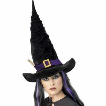 Foute halloween heksen hoed zwart met paars party