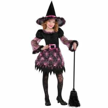 Foute halloween heksen party kleding spinnenweb voor meisjes