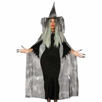 Foute halloween heksencape halloween party kleding met hoed voor dame