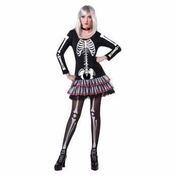 Foute halloween skelet party kleding voor dames