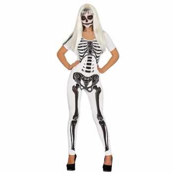 Foute halloween witte skelet catsuit party kleding voor dames