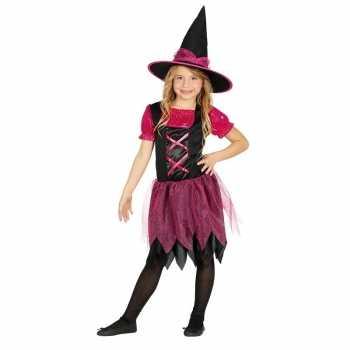 Foute halloween zwart/roze heksen party kleding voor meisjes
