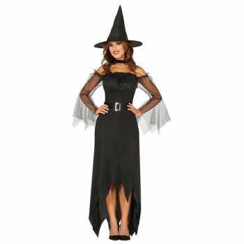 Foute halloween zwarte lange heksen party kleding voor dames