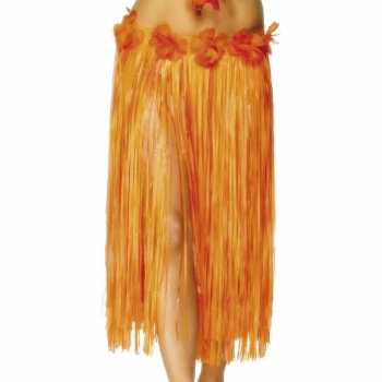 Foute hawaii rokje oranje met rode bloem party
