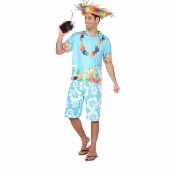 Foute hawaiiaanse blouse party kleding blauw voor heren