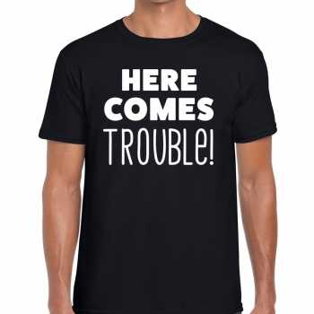 Foute here comes trouble tekst t shirt zwart heren party
