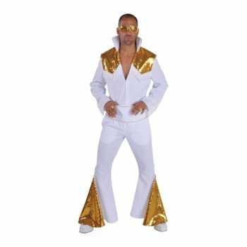 Foute heren elvis party kleding wit met goud