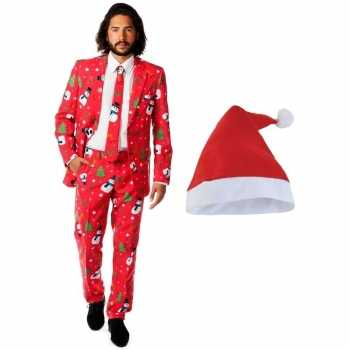 Foute heren opposuits kerst party kleding rood met kerstmuts maat 50