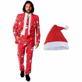 Foute heren opposuits kerst party kleding rood met kerstmuts maat 54