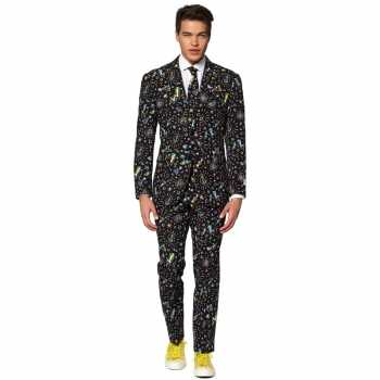 Foute heren pak/party kleding disco print