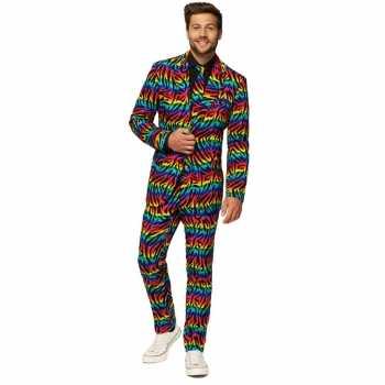 Foute heren pak/party kleding zebra regenboog print