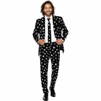 Foute heren pak/party kleding zwart met sterren print