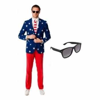 Foute heren party kleding met amerikaanse vlag print maat 52 (xl) met