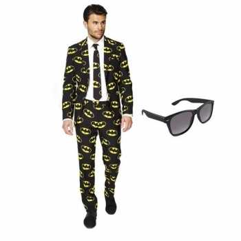 Foute heren party kleding met batman print maat 50 (l) met gratis zon