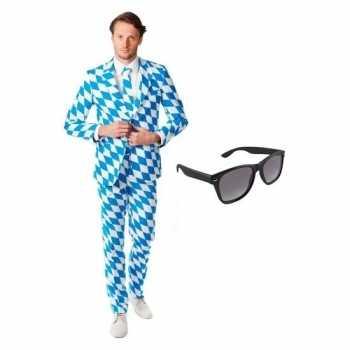 Foute heren party kleding met beierse print maat 52 (xl) met gratis z