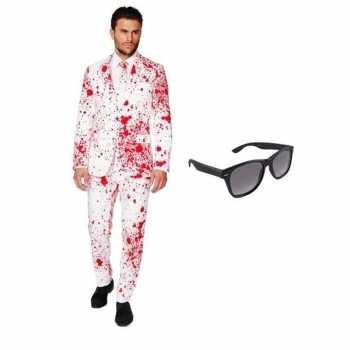 Foute heren party kleding met bloed print maat 50 (l) met gratis zonn