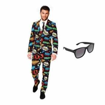 Foute heren party kleding met comic print maat 50 (l) met gratis zonn