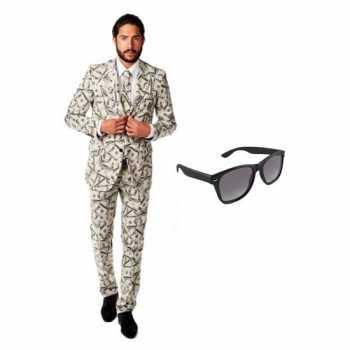 Foute heren party kleding met dollar print maat 48 (m) met gratis zon