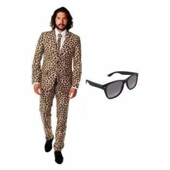Foute heren party kleding met luipaard print maat 50 (l) met gratis z