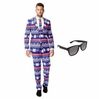 Foute heren party kleding met rendier print maat 52 (xl) met gratis z
