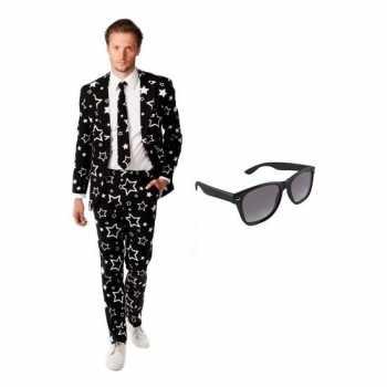 Foute heren party kleding met sterren print maat 50 (l) met gratis zo