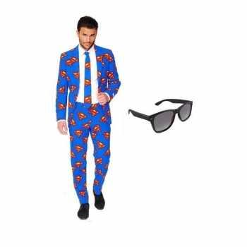 Foute heren party kleding met superman print maat 52 (xl) met gratis
