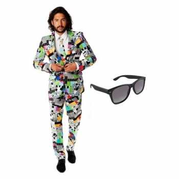 Foute heren party kleding met televisie print maat 52 (xl) met gratis