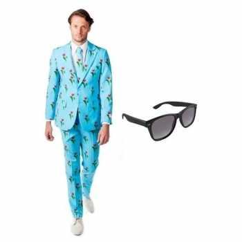 Foute heren party kleding met tulpen print maat 48 (m) met gratis zon