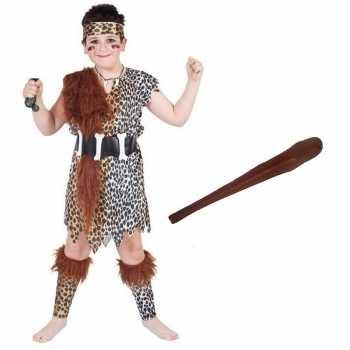 Foute holbewoner party kleding maat l met knots voor kinderen