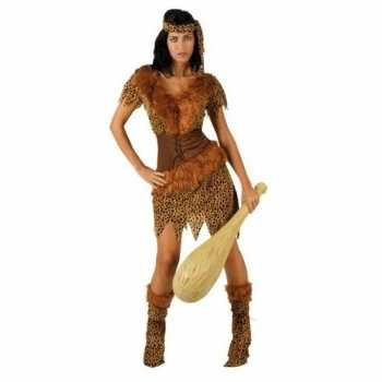 Foute holbewoonster/cavewoman ayla party kleding/jurk dames
