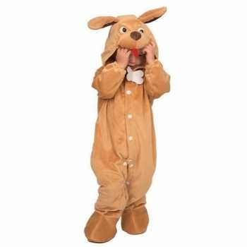 Foute hond dieren onesie/party kleding voor babys bruin