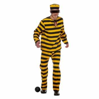 Foute inbreker party kleding zwart/geel voor heren