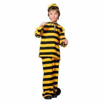 Foute inbreker party kleding zwart/geel voor kinderen