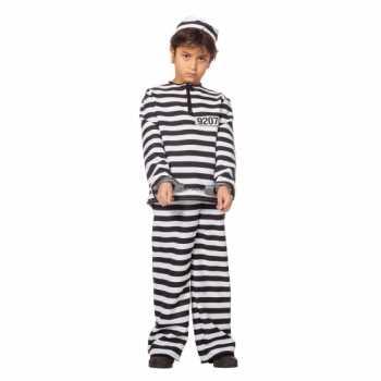 Foute inbreker party kleding zwart/wit voor kinderen
